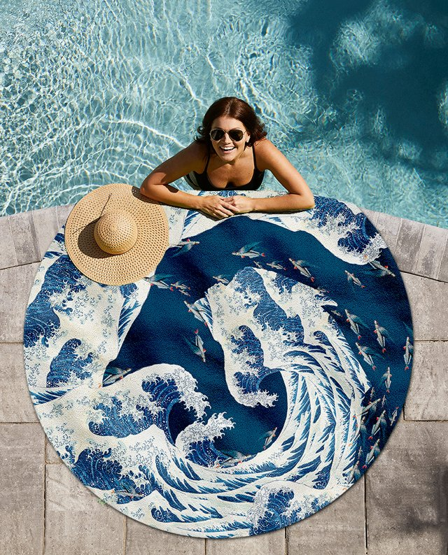 Round towel #Blue a tidal wave